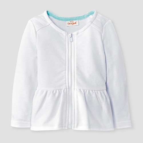 Baby Girls' Quilted Zip-Up Jacket Baby Cat & Jack - White NB, Infant Girl's, True White Opaque