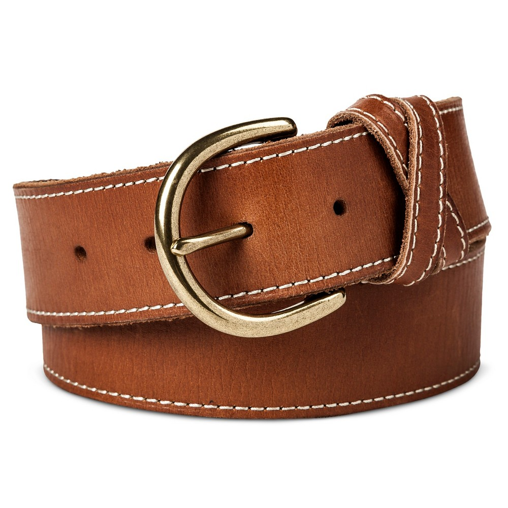 Womens Wide Belt with Stitch Cognac S - Mossimo Supply Co., Brown