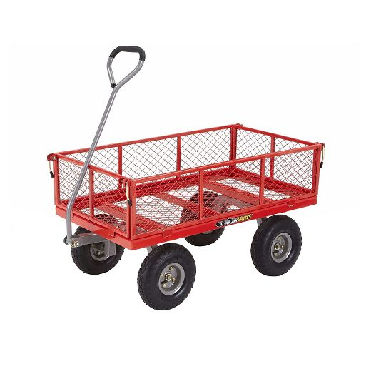 Gorilla Carts Steel Utility Cart with Removable Sides and Pneumatic Tires, 800-Pound Capacity