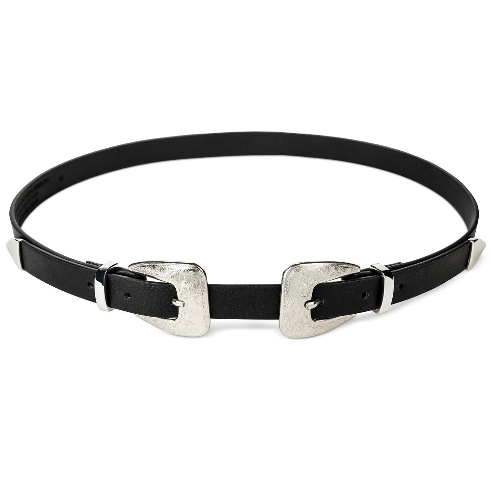 Womens Double Buckle Belt Black S - Mossimo Supply Co.