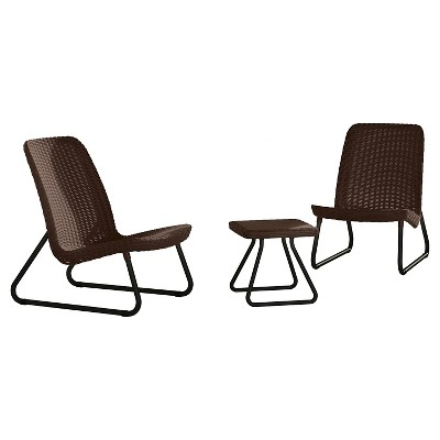 Rio 3-Piece Resin Patio Seating Set - Brown - Keter