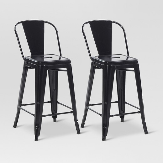 Carlisle 24 Quot Backed Counter Stool Set Of 2 Black