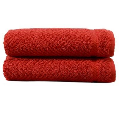 Herringbone Hand 2pc Towels Terra Cotta - Linum Home Textiles®