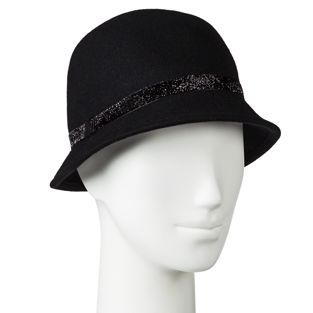 Womens Velvet Sparkle Band Cloche Hat Black - Merona