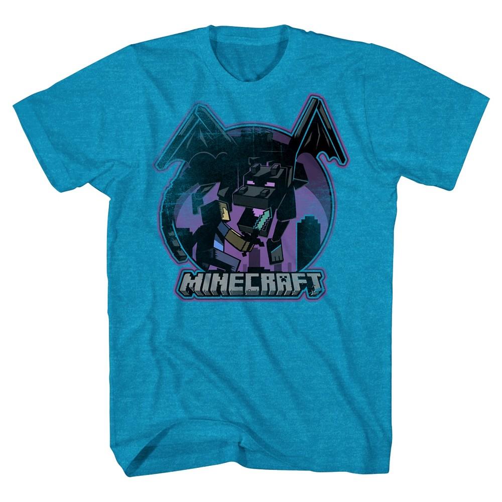 Boys Minecraft Vintage Dragon T-Shirt - Turquoise Xxl, Blue