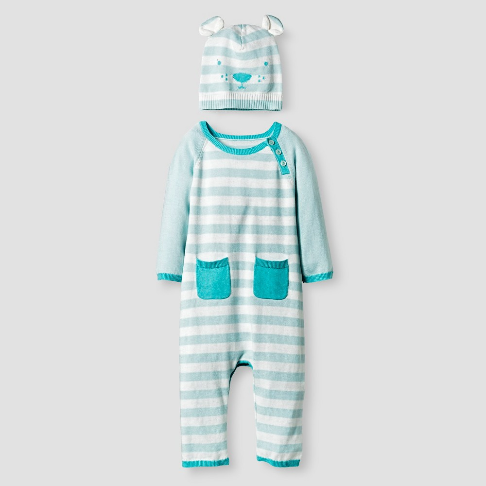 Baby Boys Organic Sweater Romper and Hat Set Cat & Jack - Turquoise, Size: 0-3M, Blue