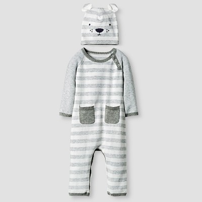 Baby Organic Sweater Romper and Hat Set Cat & Jack™ - Heather Gray