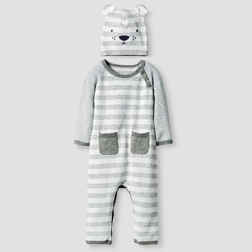 Baby Organic Sweater Romper and Hat Set Cat & Jack - Heather Gray, Infant Unisex, Size: 3-6M