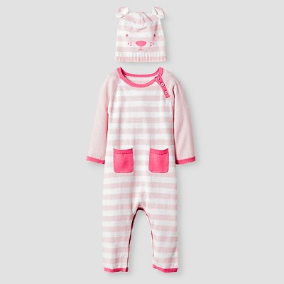Baby Girls' Organic Sweater Romper and Hat Set Cat & Jack™ - Pink