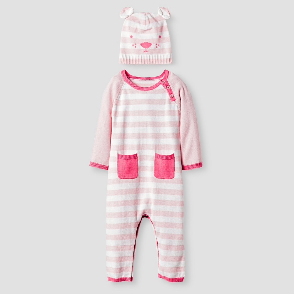 Baby Girls Organic Sweater Romper and Hat Set Cat & Jack - Pink, Size: 3-6M