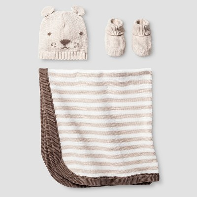 Baby Organic Hat, Bootie, Blanket Set - Cat & Jack™ Oatmeal Heather