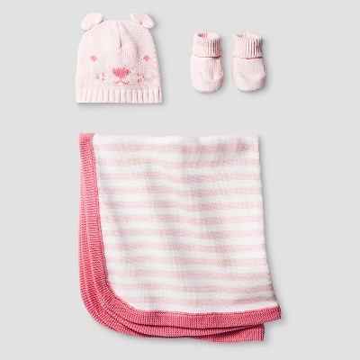 Baby Girls' Organic Hat, Bootie, Blanket Set - Cat & Jack™ Pink