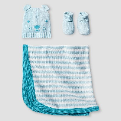 Baby Boys' Organic Hat, Bootie, Blanket Set Cat & Jack™ - Turquoise