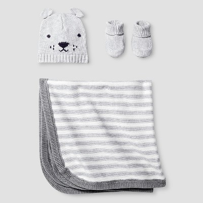 Baby Organic Hat, Bootie, Blanket Set Cat & Jack™ - Light Heather