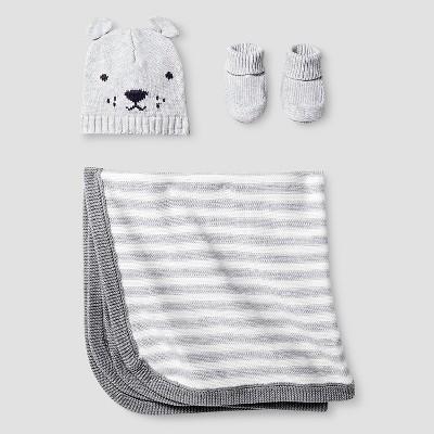 Baby Organic Hat, Bootie, Blanket Set Cat & Jack™ - Light Heather