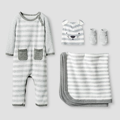 Baby Organic Sweater Romper, Hat, Bootie and Blanket Set Cat & Jack™ - Heather Gray