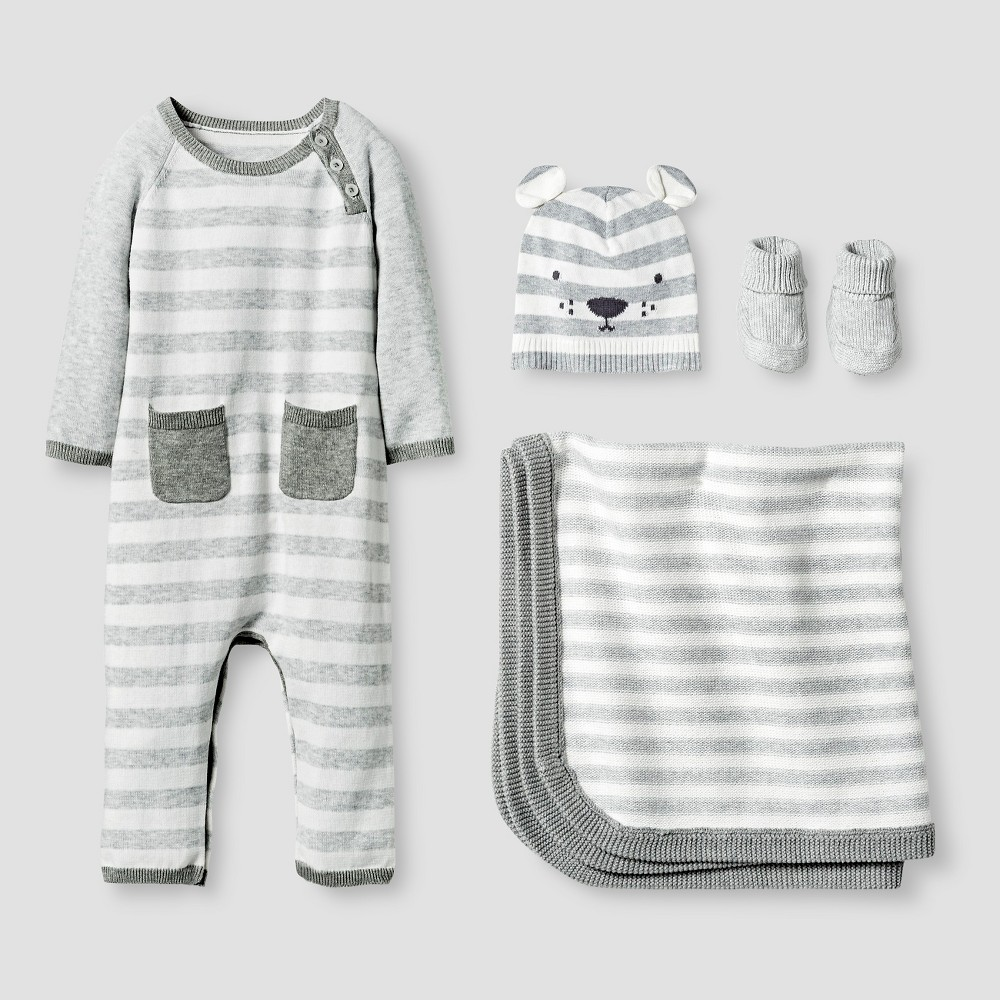 Baby Organic Sweater Romper, Hat, Bootie and Blanket Set ...