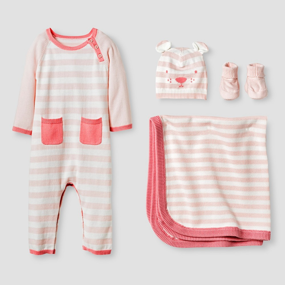 Baby Girls' Organic Sweater Romper, Hat, Bootie and Blanket Set Cat & Jack - Pink