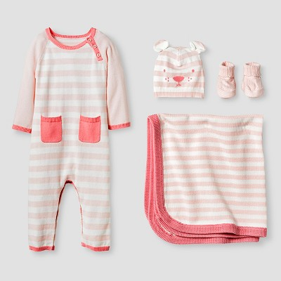 Baby Girls' Organic Sweater Romper, Hat, Bootie and Blanket Set - Cat & Jack™ Pink