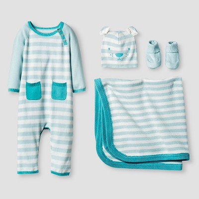 Baby Boys' Organic Sweater Romper, Hat, Bootie and Blanket Set Cat & Jack™ - Turquoise