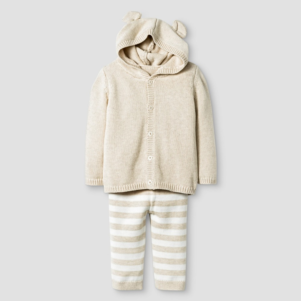 Baby Organic Sweater Hoodie with Ears and Pants Set - Cat & Jack Oatmeal Heather, Infant Unisex, Size: NB, Brown