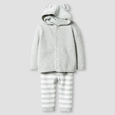Baby Organic Sweater Hoodie with Ears and Pants Set Cat & Jack™ - Heather Gray NB