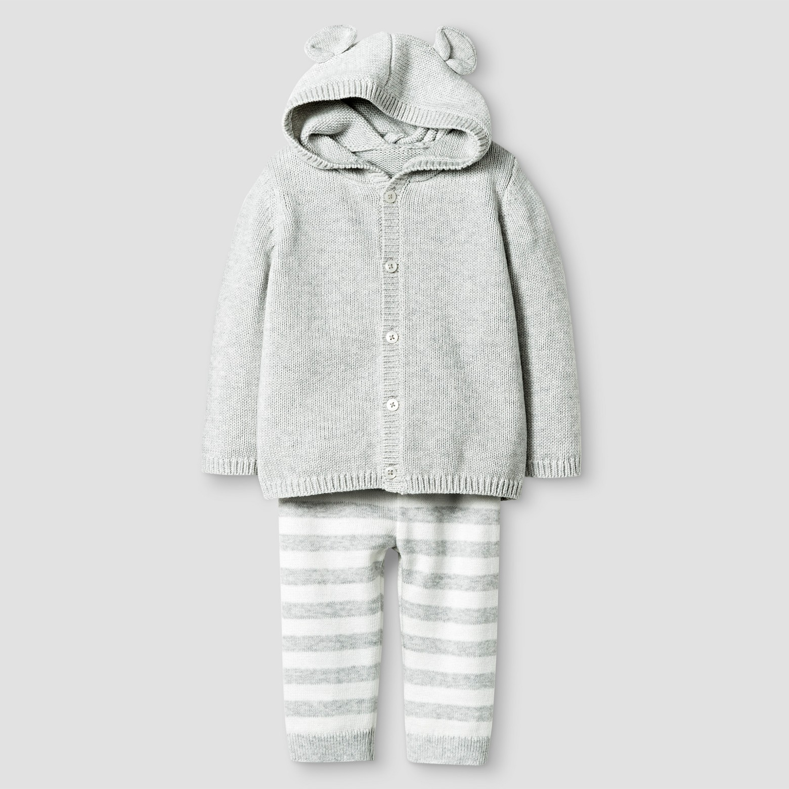 Baby Organic Sweater Hoodie with Ears and Pants Set Cat & Jack - Heather Gray : Target