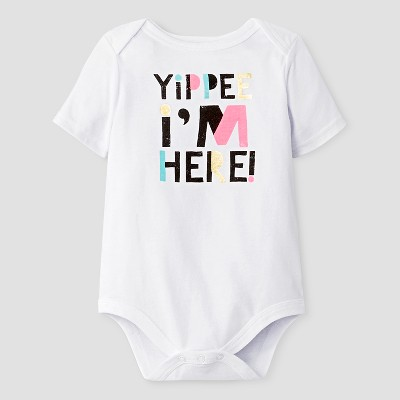 Baby Short Sleeve Yippie I'm Here Bodysuit Cat & Jack™ - White NB