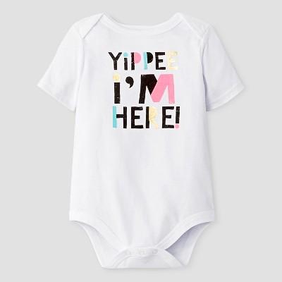 Baby Short Sleeve Yippie I'm Here Bodysuit Cat & Jack™ - White 0-3M