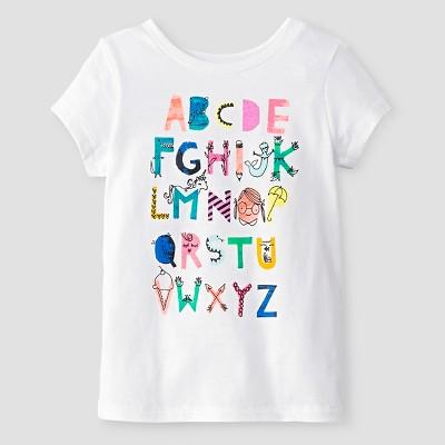 Baby Girls' Alphabet Short Sleeve Graphic T-Shirt Cat & Jack™ - White 18M
