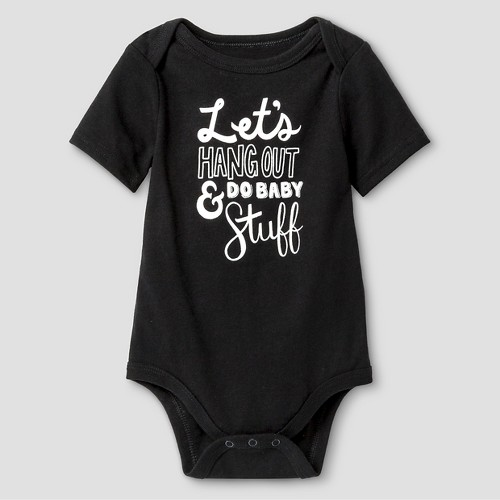 Baby Short-Sleeve Hang Out Bodysuit Baby Cat & Jack - Ebony 18M, Infant Boy's, Size: 18 M, Black