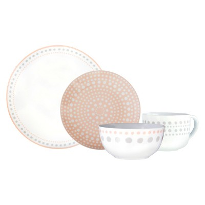 Cheeky® Ojai Porcelain 16pc Dinnerware Set Gray/Peach