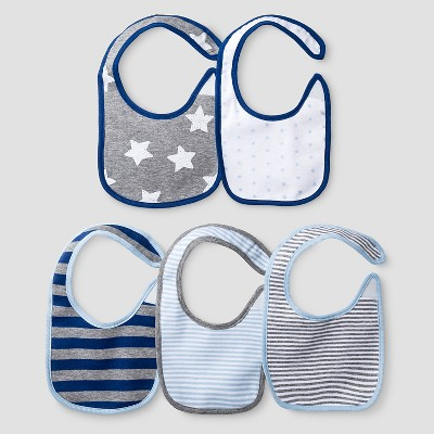 Baby Boys' 5 Pack Star Bib Set Cat & Jack™ - Navy/Heather Gray