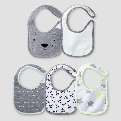 Baby 5 Pack Bib Set - Cat & Jack™ White/Heather Gray