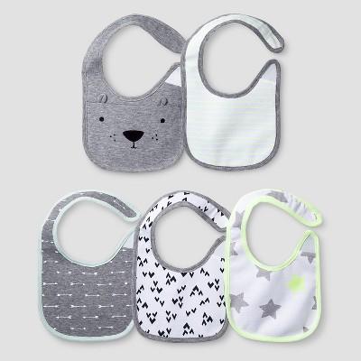 Baby 5 Pack Bib Set - Cat & Jack™ White/Heather Gray