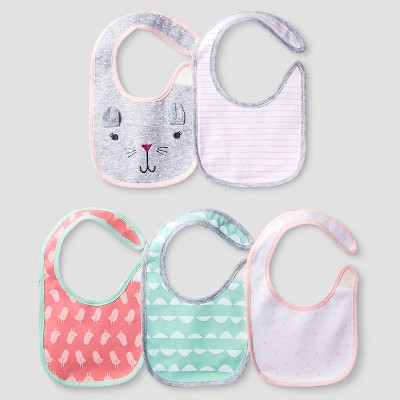 Baby Girls' 5 Pack Bib Set - Cat & Jack™ Coral/Aquamint
