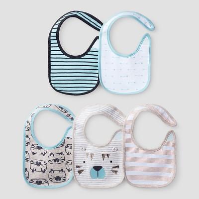 Baby Boys' 5 Pack Bib Set - Cat & Jack™ Turquoise/White