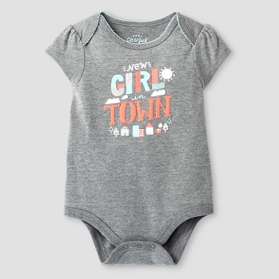 Baby Girls' Short-Sleeve New Girl in Town Bodysuit Baby Cat & Jack™ - Grey