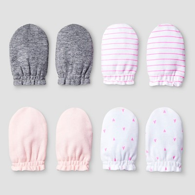 Baby Girls' 4 Pack Mitten Set Cat & Jack™ - Pink/Heather Gray