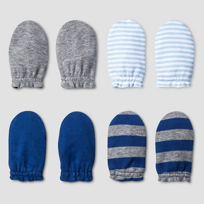 Baby Boys' 4 Pack Mitten Set Cat & Jack™ - Navy/Heather Gray