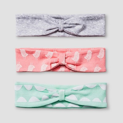 Baby Girls' 3 Pack Headband Set - Cat & Jack™ Coral/Aquamint