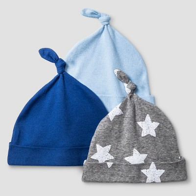 Baby Boys' 3 Pack Hat Set Cat & Jack™ - Navy/Heather Gray
