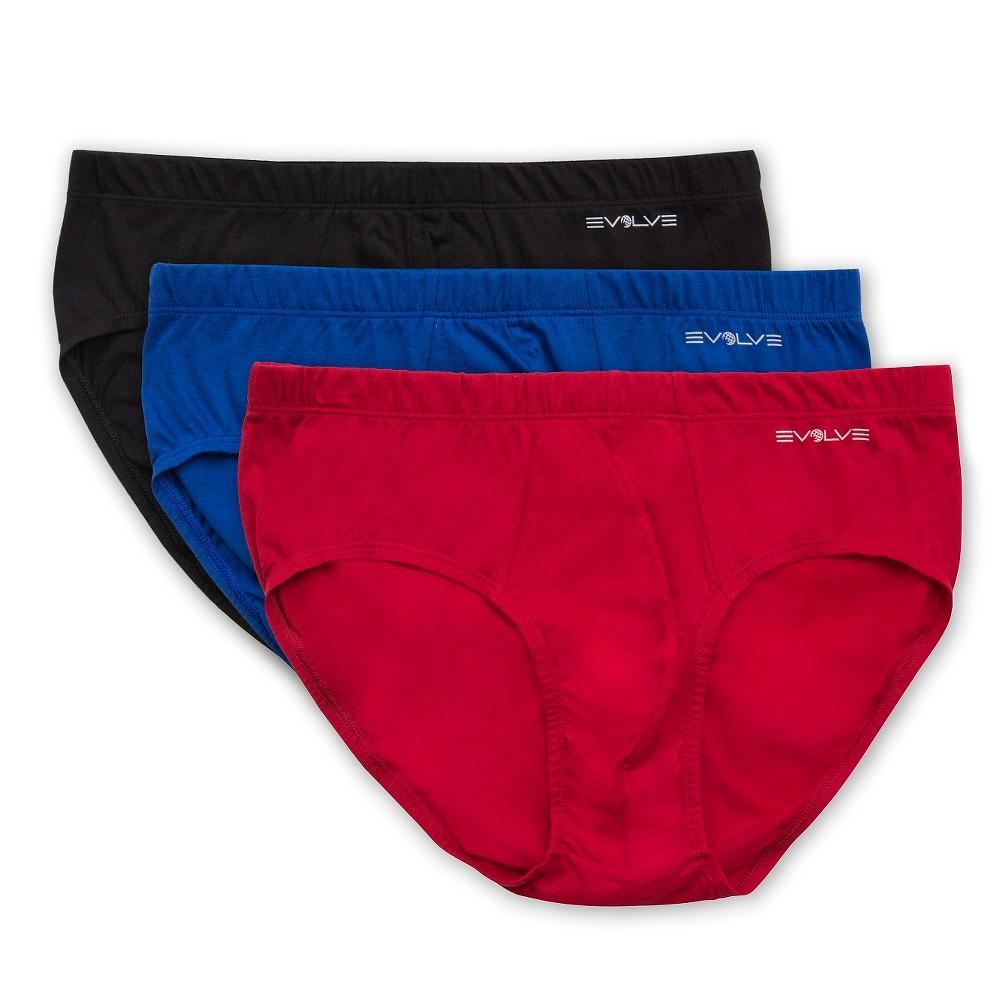 Evolve - Men's 3Pack Briefs - Black/Cobalt/Scotts Red XL, Black Blue Red