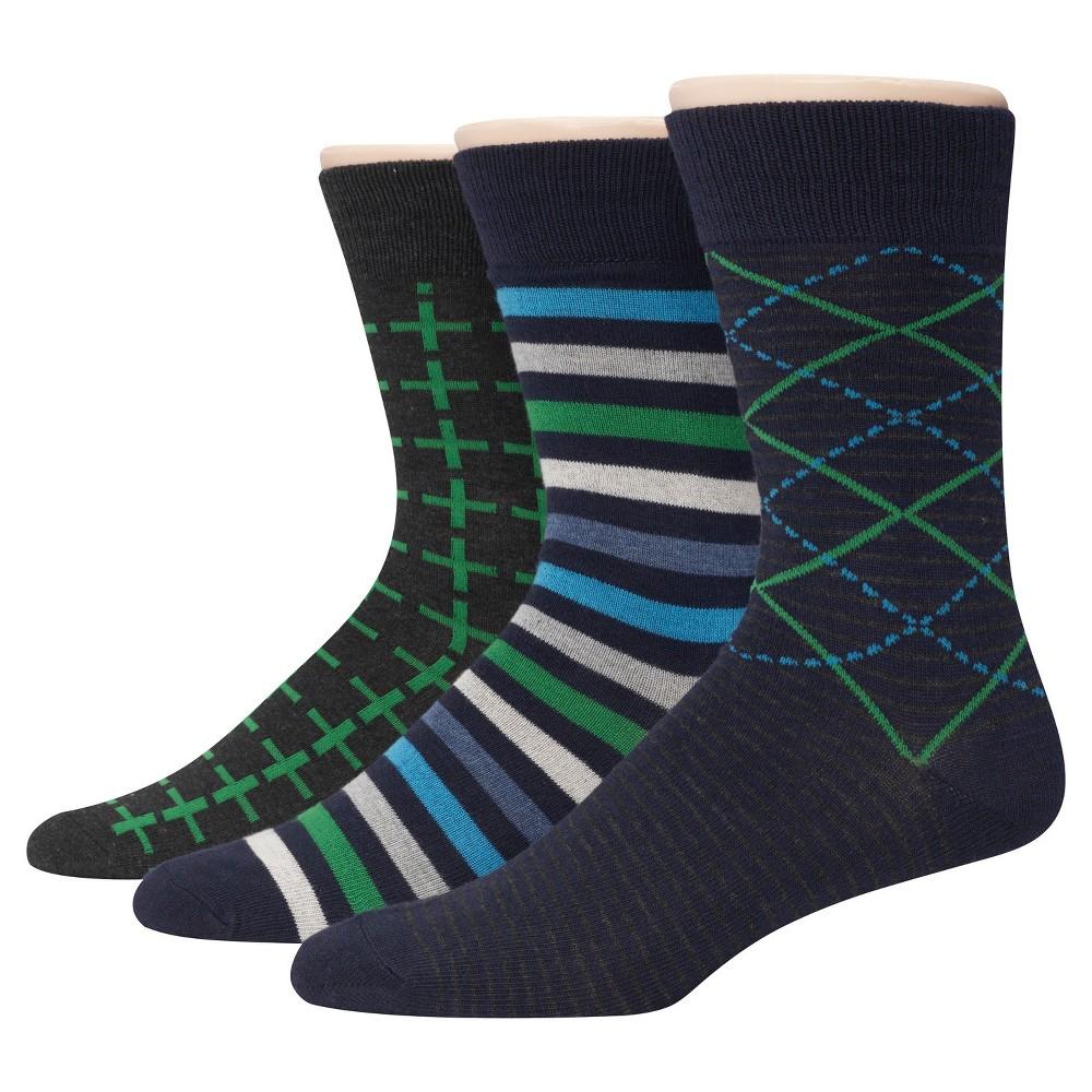 Men's Hanes Premium 3Pack Dress Socks - Multi-Colored 6-12