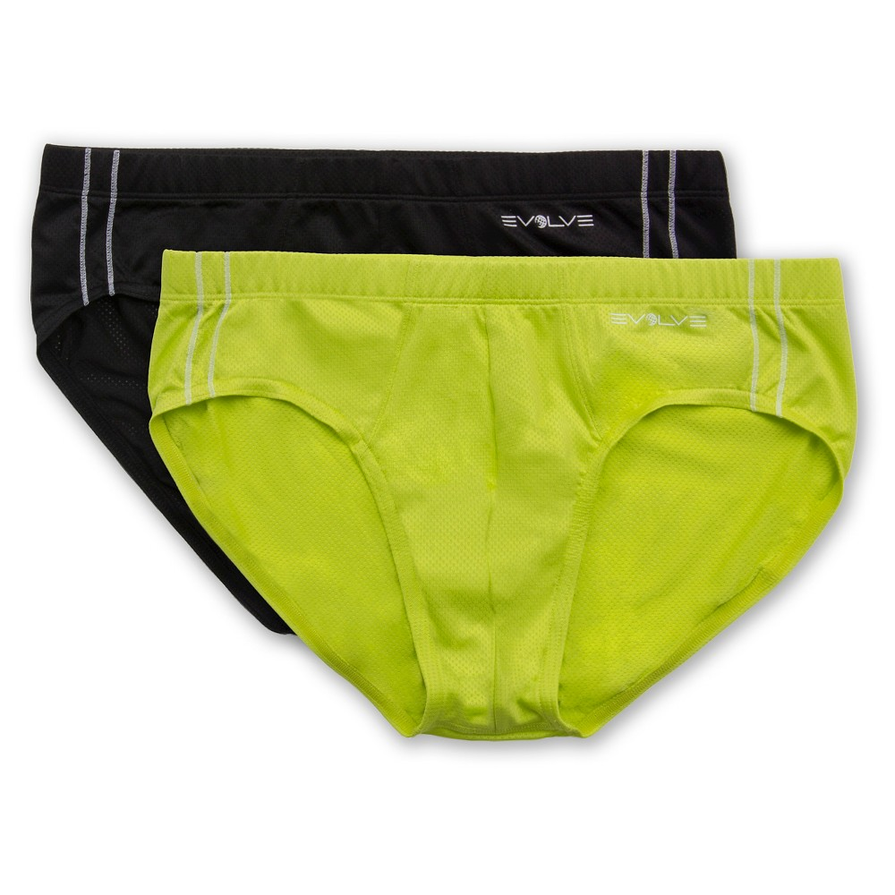 Evolve - Men's 2Pack Classic Briefs - Black/ Lime Punch M, Black Yellow