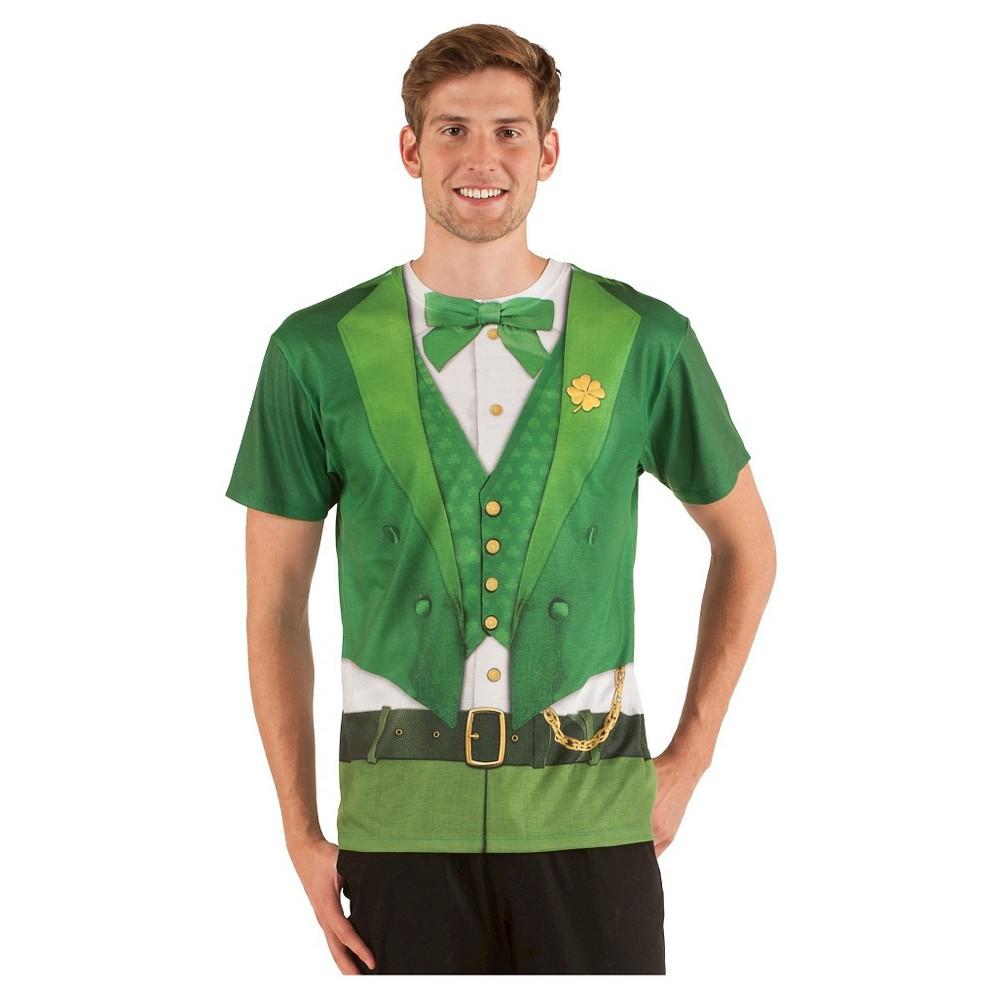 St. Patrick's Day Men's Leprechaun Short Sleeve Suit Costume Tee - (Xxl), Green