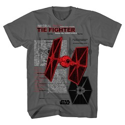 Imperial Ties Fighter Boys' Star Wars Graphic T-Shirt - Charcoal