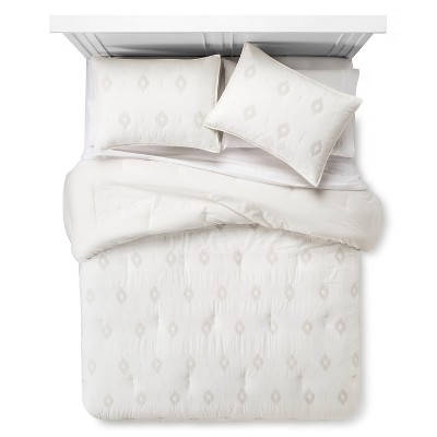 Embroidered Diamond Comforter Set (Full/Queen)Almond Cream 3pc - Nate Berkus™