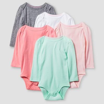 Baby Girls' Long Sleeve 5 Pack Bodysuit - Cat & Jack™ Pink/Coral NB