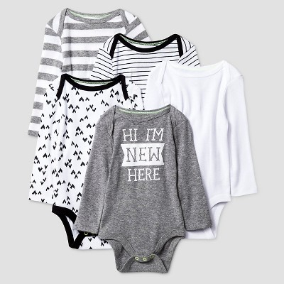 Baby Long Sleeve 5 Pack Bodysuit Cat & Jack™ - Heather Gray/Black NB